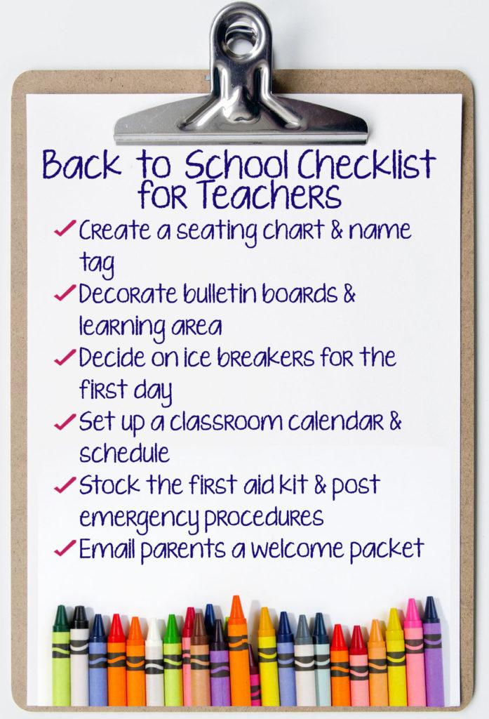 School Checklist for Teachers